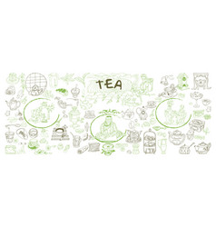 Sketch traditional tea elements set vector