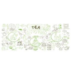 sketch traditional tea elements set vector image