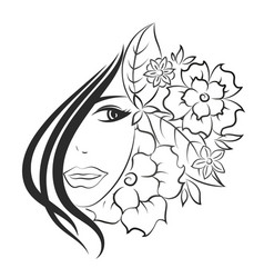 face of girl and flowers vector image