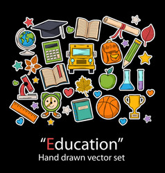 education setfashion patch badges collection vector image