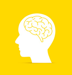 silhouette head with the brain vector image