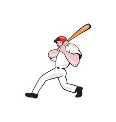Baseball player batting look side isolated cartoon vector