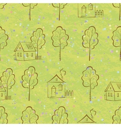 Seamless pattern houses contours and trees vector image