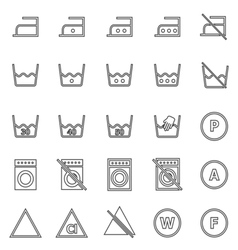 Laundry line icons on white background vector