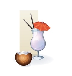 Coconut in goblet of juice cocktail smoothie vector