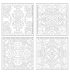 Unique coloring book square page set for adults vector