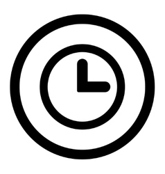 Clock flat black color rounded icon vector