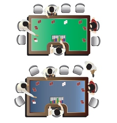 Casino furniture  poker table top view set 5 vector