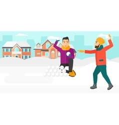 Men playing in snowballs vector