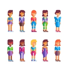 Set of female characters in flat design vector