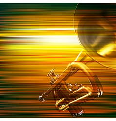 Abstract green blur music background with trumpet vector