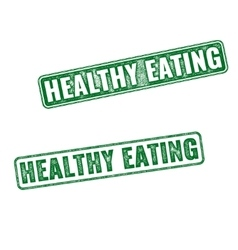 Green grunge rubber stamps healthy eating vector