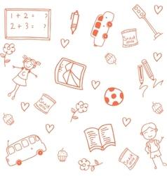 Orange kids for school doodle art vector