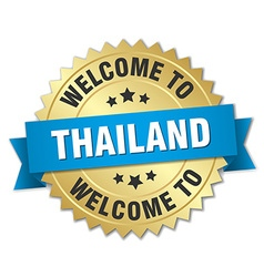 Thailand 3d gold badge with blue ribbon vector