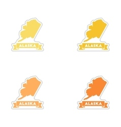 Set of paper stickers on white background alaska vector