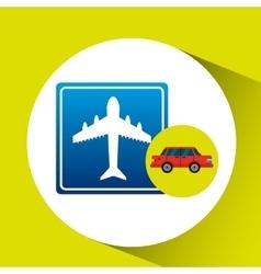 Airport road sign sedan red vector