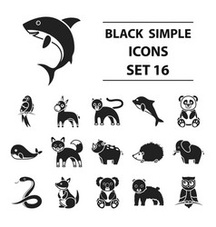 Animals set icons in black style big collection vector
