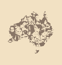 Australian map from human portraits vector