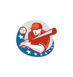 Baseball player batter stars circle retro vector