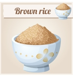 Bowl of brown rice detailed icon vector