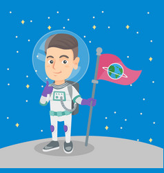 caucasian kid spaceman with flag on a new planet vector image