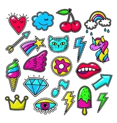 Chic fashion badges Girl doodle applique patches vector image