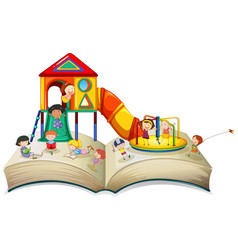Children playing at playground on book vector