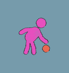 Colored silhouette of basketball player with ball vector