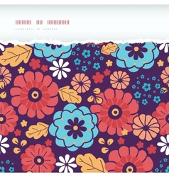 Colorful bouquet flowers horizontal torn seamless vector