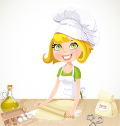 Cute blond girl baking cookies vector