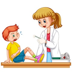 Doctor cleanin up the wound of boy vector