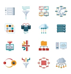 Flat filtering data icons vector