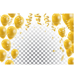 gold balloons white background vector image