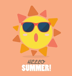 Hello summer with happy sun vector
