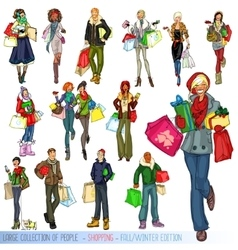 Large collection of people with shopping bags vector image