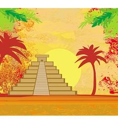 Mayan Pyramid Chichen-Itza Mexico - grunge vector image