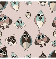 Pastel beige and brown cute owl seamless pattern vector image