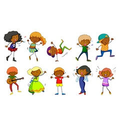 Set of kids singing and dancing vector image