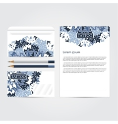 Tattoo salon corporate identity template set vector