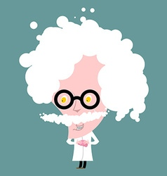 Crazy professor in white coat nutty scientist vector
