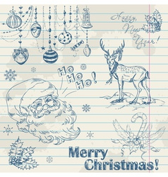 Christmas elements on notebook paper with santa vector