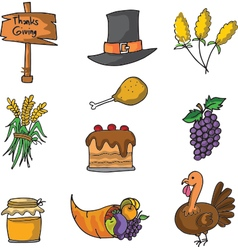 Doodle of thanksgiving hat food and turkey vector image
