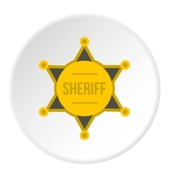 Sheriff badge icon flat style vector