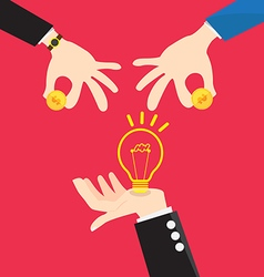Bulb light in hand change money vector
