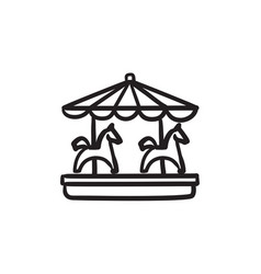 Merry-go-round with horses sketch icon vector