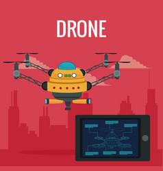 Red scene city landscape set remote control tablet vector