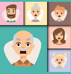 Set angry emoticons face of people fear vector