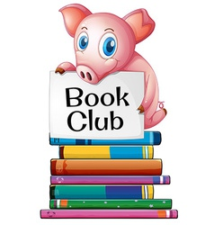 Pig and books vector image