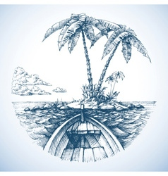 Tropical island in the ocean with palm trees view vector