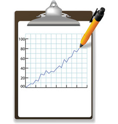 Pen drawing financial growth chart clipboard vector